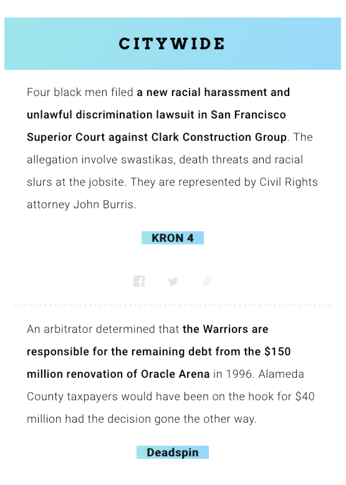 A screenshot of the citywide section of a newsletter